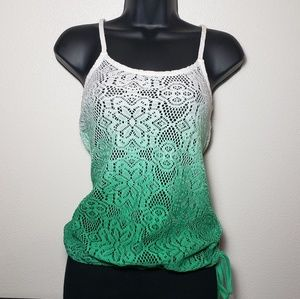 Ombre White & Teal Knit Tank By American Rag XS